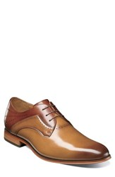 Stacy Adams Men's Savion Plain Toe Derby Tan Cognac Leather