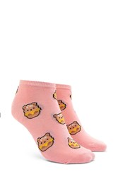 Forever 21 Bear Print Ankle Socks Pink Multi