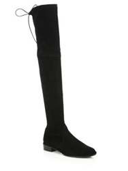 Stuart Weitzman Lowland Suede Lace Up Over The Knee Boots Grey Black Loden Brown