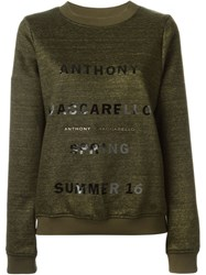 Anthony Vaccarello Logo Print Sweatshirt Green