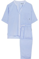 Dkny The Lineup Striped Modal Blend Voile Pajama Set Light Blue