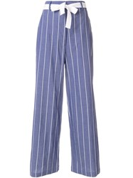 Hache Striped Palazzo Trousers Blue