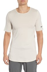 Nike Short Sleeve Dry Fitted Training Shirt Sand Moon Particle Black
