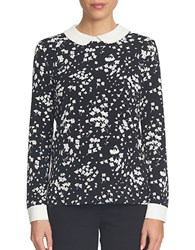 Cece Long Sleeve Floral Printed Blouse Black White