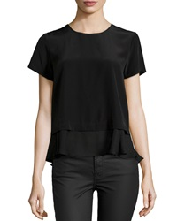Madison Marcus Ruffle Trim Short Sleeve Blouse Black