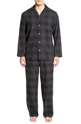 Men's Big And Tall Nordstrom '824' Flannel Pajama Set Black Charcoal Plaid