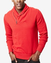 Sean John Zip Shawl Collar Sweater Tango Red