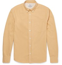 Acne Studios Isherwood Button Down Collar Cotton Twill Shirt Yellow
