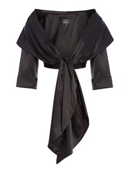 Adrianna Papell Satin Wrap Jacket Black