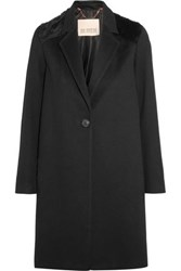 Karl Donoghue Shearling Paneled Merino Wool Coat Black