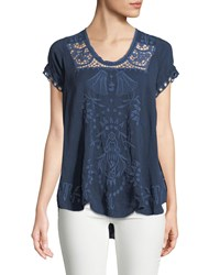 Johnny Was Melrose Scoop Neck High Low Top Plus Size Blue Night
