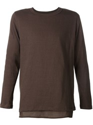 Bed J.W. Ford Two Layer Long Sleeve T Shirt Brown
