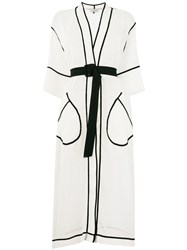 Murmur Contrast Piped Belted Kimono Coat White