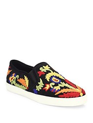 Alice Olivia Ava Embroidered Suede Skate Sneakers Black Multi