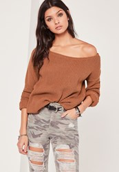 Missguided Off Shoulder Knitted Jumper Tan Clay