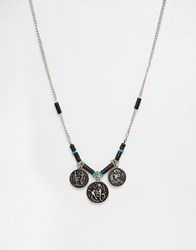 Asos Necklace With Multi Coin Pendant In Silver Burnished Silver