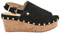 Ravel Cutler Ankle Strap Cork Wedges Black