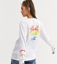 Santa Cruz Horizon Long Sleeve T Shirt With Arm And Back Print In White Exclusive To Asos