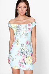 Boohoo Off The Shoulder Floral Bodycon Dress Multi