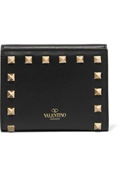 Valentino The Rockstud French Leather Wallet Black