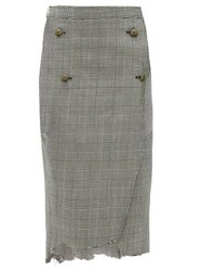 Vetements Raw Edge Prince Of Wales Checked Pencil Skirt Grey Multi