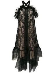 Gina Ruffle Lace Halterneck Gown Black