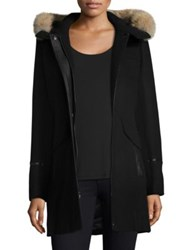 Trina Turk Riley Hooded Fur Trim Duffle Coat Black