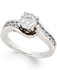 Trumiracle Diamond Swirl Bypass Engagement Ring 1 Ct.T.W. In 14K White Gold No Color