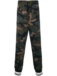 Valentino Camouflage Track Pants Green