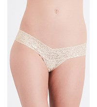 Hanky Panky Gold Leopard Signature Lace Low Rise Thong Sand