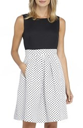 Women's Tahari Polka Dot Faille Fit And Flare Cotton Dress White Black