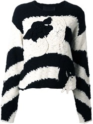 Jay Ahr Patched Striped Pullover Black