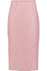 Rochas Leavers Lace And Silk Tulle Skirt Baby Pink