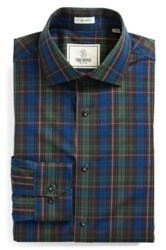 Todd Snyder Trim Fit Plaid Dress Shirt Green