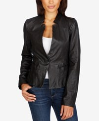 Lucky Brand Leather Single Button Blazer Lucky Black