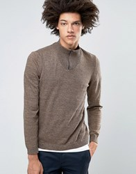 Asos Turtleneck Jumper With Zip In Navy And Tan Twist Navy And Tan Twist Brown