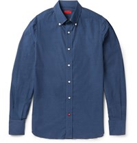 Isaia Slim Fit Button Down Collar Printed Cotton Shirt Blue