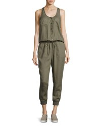 Joie Dantel Sleeveless Linen Jumpsuit Green