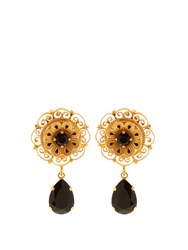 Dolce And Gabbana Teardrop Crystal Embellished Earrings Black Gold