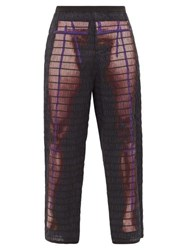 Craig Green Elastic Quilted Body Print Cotton Trousers Purple