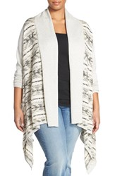 Plus Size Women's Lucky Brand Fair Isle Drape Front Cardigan Grey Multi