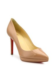 Christian Louboutin Patent Leather Point Toe Platform Pumps Nude