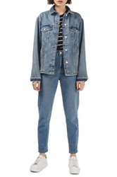 Topshop Moto Dirty Lilac Oversized Denim Jacket Blue