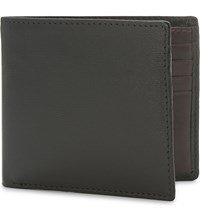 Launer Calf Leather Billfold Wallet Black Burgundy