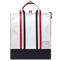 Thom Browne Canvas And Pebble Grain Leather Lined Tote White