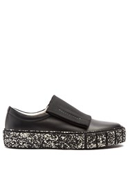 Primury Curio Meta Speckled Print Slip On Leather Trainers Black Multi