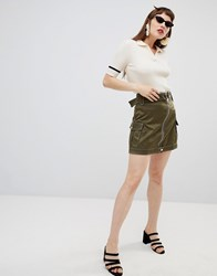 Mango Zip Detail Utility Skirt In Khaki Green