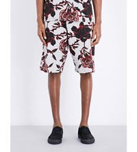 Mcq By Alexander Mcqueen Floral Print Cotton Jersey Shorts Grey Large Floral