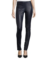 Joseph Leather Leggings Navy