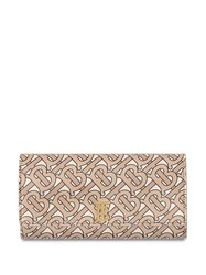 Burberry Monogram Print Leather Continental Wallet Neutrals
